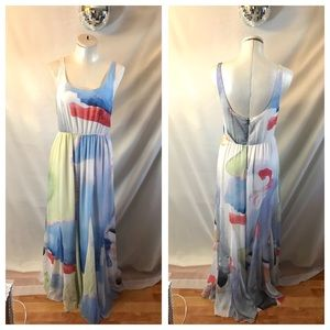 Alice & Olivia Nina Watercolor Printed Maxi Dress